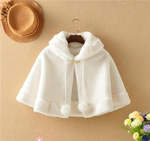 ddbd5efb3 Fur Coat Wedding Baby Girls Princess Dress Plush Bolero Winter Wedding  Cloak Kids Faux Fur Cape Scar